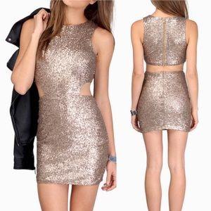TOBI small Dress Cutout Yez Gold Sequin Mini